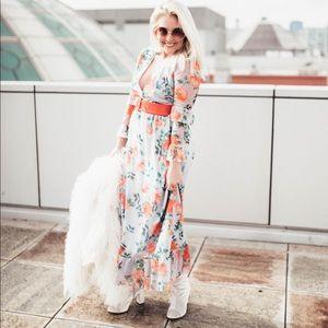 [ASOS] printed mesh maxi dress with contrast belt